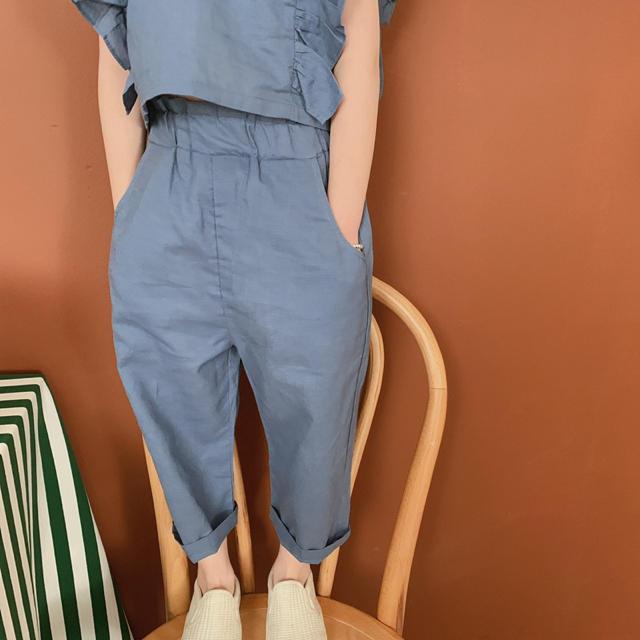 petit main(プティマイン)の100㌢⭐️リンネ リボン フリル  背中開き セットアップ パンツ 女の子 キッズ/ベビー/マタニティのキッズ服女の子用(90cm~)(ドレス/フォーマル)の商品写真