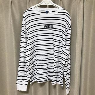 エイチアンドエム(H&M)のH&M ボーダー 刺繍 ロンT ロングTシャツ Lサイズ 袖リブ(Tシャツ/カットソー(七分/長袖))