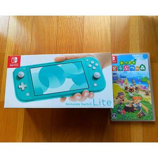 ニンテンドースイッチ(Nintendo Switch)のNintendoSwitchLite ターコイズ あつまれどうぶつの森セット(携帯用ゲーム機本体)