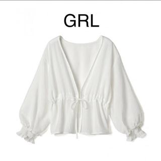 GRL - GRL シアーシャツ ドロストリボンブラウス ホワイト