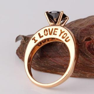 ビームス(BEAMS)のI LOVE YOU文字リング ブラック(リング(指輪))