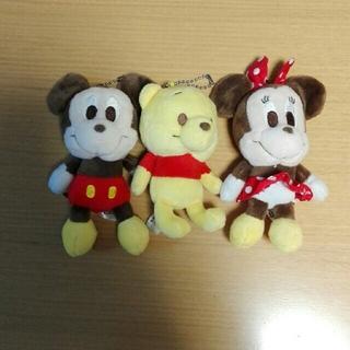 ディズニー(Disney)のミッキー+ミニー+ぷーさん  ぬいぐるみ ストラップ キーホルダーセット(ストラップ)