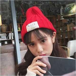 カップル ニット帽 薄いレッド ニット帽冬 あったか かわいい 防寒 男女兼用(ニット帽/ビーニー)
