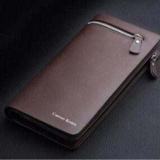 【ブラウン】シンプルでカッコいいレザーの長財布【人気商品】(長財布)