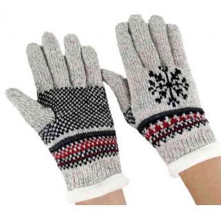 メンズ 手袋 ライトグレー ノルディック柄 紳士ニット 五本指 ウール 厚手手袋(手袋)
