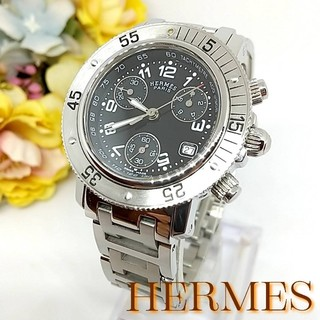 Hermes - 新品並美品 エルメス クリッパー CL2.310 クロノグラフ レディース 時計