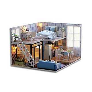 GutMai DIY木製ドールハウス、メゾネットタイプ、手作りキットセット、ミニ