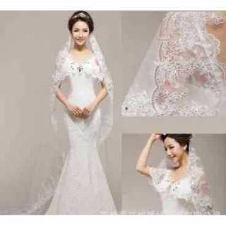 人気 ロング ウェディング ベール ゴージャス デザイン 大人婚 結婚式 二次会(ウェディングドレス)