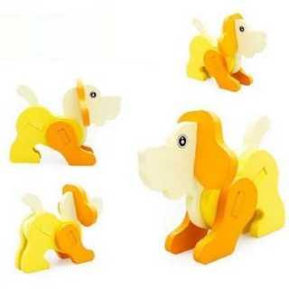 3D 動物 模型 おもちゃ 木製 知育玩具 インテリア パズル 幼児 イヌ