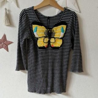 アチャチュムムチャチャ(AHCAHCUM.muchacha)のあちゃちゅむ バタフライニットアップリケ 7分袖カットソー(Tシャツ/カットソー)