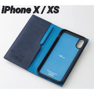 ELECOM - iPhoneX iPhoneXS ケース 手帳型 ロイヤルネイビー イタリアン