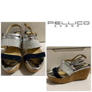 PELLICO - ペリーコサニー シルバーレザー ウエッジ サンダル