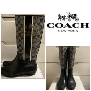 コーチ(COACH)のコーチ ブラックラバー シグネチャー レインブーツ(レインブーツ/長靴)