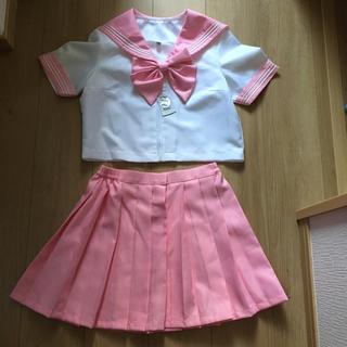 コスプレ女子高生セーラー服ピンク上下セットMコスチューム衣装ハロウィン未使用新品(衣装)