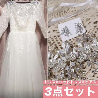 ドレス ピアス ヘッドドレス ウェディング セット(ウェディングドレス)
