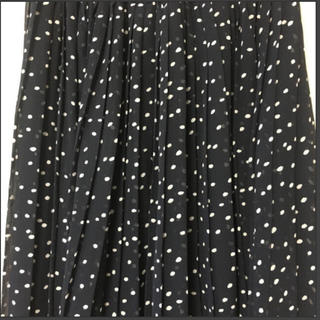 美品 ドット ロング プリーツシフォンスカート  Mサイズ  濃紺