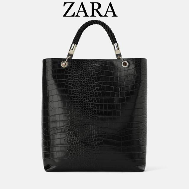 ZARA(ザラ)のZARA レザー トートバッグ 黒 クロコ レディースのバッグ(トートバッグ)の商品写真
