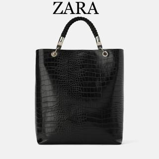 ZARA - ZARA レザー トートバッグ 黒 クロコ