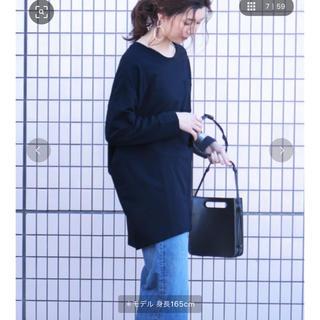 ジーユー(GU)のreca コクーン ビッグシルエット ポケット付きカットソー ネイビー(カットソー(長袖/七分))