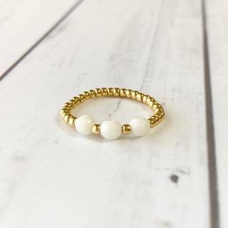 天然石 白サンゴ ハンドメイド リング 人気 指輪 韓国 ビーズリング(リング)