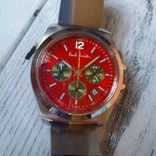 ポールスミス(Paul Smith)のポールスミス腕時計 レッド文字盤 クロノグラフ 新電池(腕時計(アナログ))