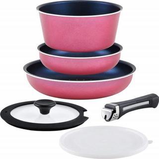 【限定★商品】フライパンセット ピンク 取っ手の取れる6点セット(調理道具/製菓道具)