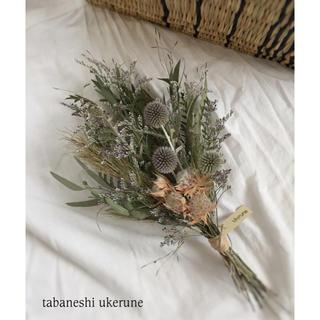 初夏に飾る ブルーファンタジアとアザミを束ねた スワッグ ドライフラワー(ドライフラワー)