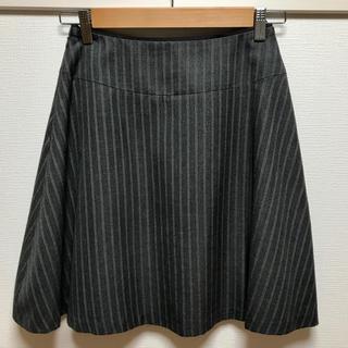 エニィスィス(anySiS)の美品★anySiS 膝丈 スカート グレー ストライプ(ひざ丈スカート)