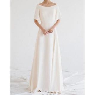 美品! ウエディングドレス ホワイト エレガント 優雅なシルエット(ウェディングドレス)