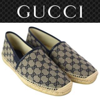 グッチ(Gucci)の05 GUCCI エスパドリーユ スリッポン ネイビー size 8.5(スリッポン/モカシン)