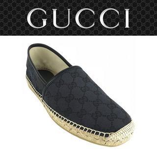 グッチ(Gucci)の06 GUCCI エスパドリーユ スリッポン ブラック size 8(スリッポン/モカシン)