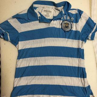 エアロポステール(AEROPOSTALE)のAEROPOSTALE  メンズポロシャツ Lサイズ 水色ボーダーused(ポロシャツ)