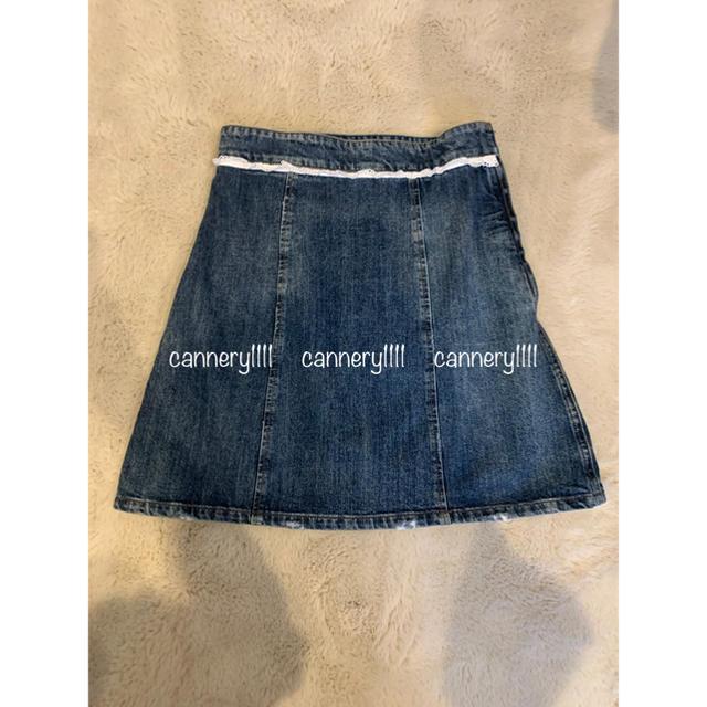 miumiu(ミュウミュウ)のmiumiu ♡  2017  フリル 装飾 ミニ丈 デニムスカート レディースのスカート(ミニスカート)の商品写真