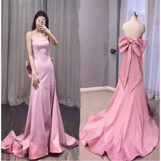 エレガント カラードレス ピンク ベアトップ  豪華なバックリボン(ウェディングドレス)