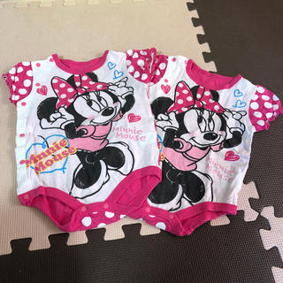 ディズニー(Disney)のミニーちゃん 半袖 ロンパース 2枚セット♬(ロンパース)