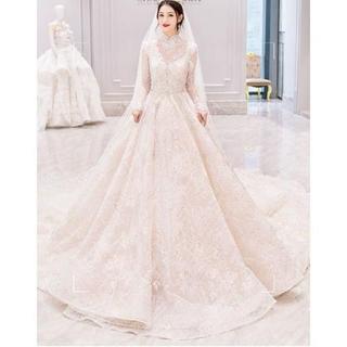 華やか ウエディングドレス レース ロングトレーン 長袖 人気上昇 花嫁/ウェデ(ウェディングドレス)