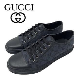 グッチ(Gucci)の08 GUCCI GGキャンバス スニーカー ブラック size 7.5(スニーカー)