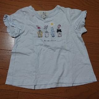 クミキョク(kumikyoku(組曲))の組曲 100cm 女の子 水色 半袖 お花 Tシャツ(Tシャツ/カットソー)