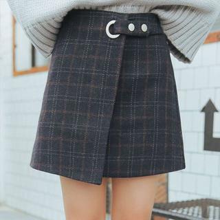 【ネイビーMsize】ちょー可愛い巻きスカート風チェック柄(ミニスカート)