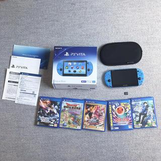 プレイステーションヴィータ(PlayStation Vita)のPS VITA ps vitaアクアブルーメモリーカード32GBほぼ新品(携帯用ゲーム機本体)
