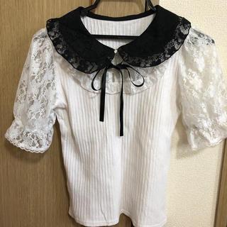 シークレットハニー(Secret Honey)のレース襟リボントップス(カットソー(半袖/袖なし))