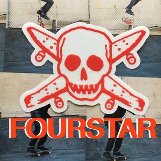 FOURSTARフォースターUS限定型抜きスカルアイコンステッカーred(スケートボード)