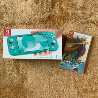 ニンテンドースイッチ(Nintendo Switch)の新品 Nintendo Switch  Lite 本体 ターコイズ  ソフト付(携帯用ゲーム機本体)