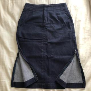 イッセイミヤケ(ISSEY MIYAKE)のイッセイミヤケ  サイドジッパー デニムスカート(ひざ丈スカート)