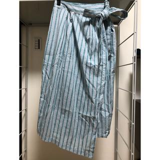 アトリエドゥサボン(l'atelier du savon)のアトリエドゥサボン ローンギンガムストライプスカート  ブルー(ひざ丈スカート)