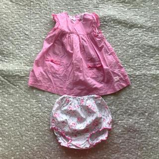 PETIT BATEAU - ワンピース ピンク 格子柄 花柄 ブルマ付 プチバトー