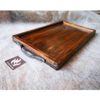 アイアンハンドル付 木製カフェトレイ【出品者ハンドメイド】x1枚