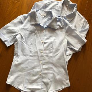水色ブラウス 半袖長袖2点セット(╹◡╹)(スーツ)