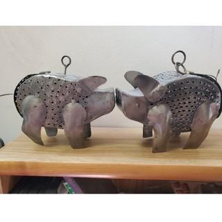 ぶーちゃん置物 雑貨 豚さん キャンドル入れ 置物(金属工芸)