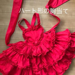Shirley Temple - ST 100 ハート胸当てジャンスカ スカート 赤